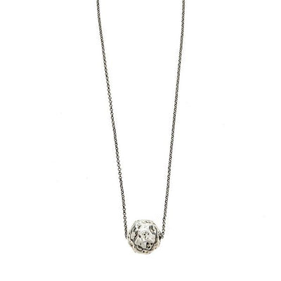 Cristina Sabatini Chain Jewelry - Antique Silver Hammered Ball Necklace