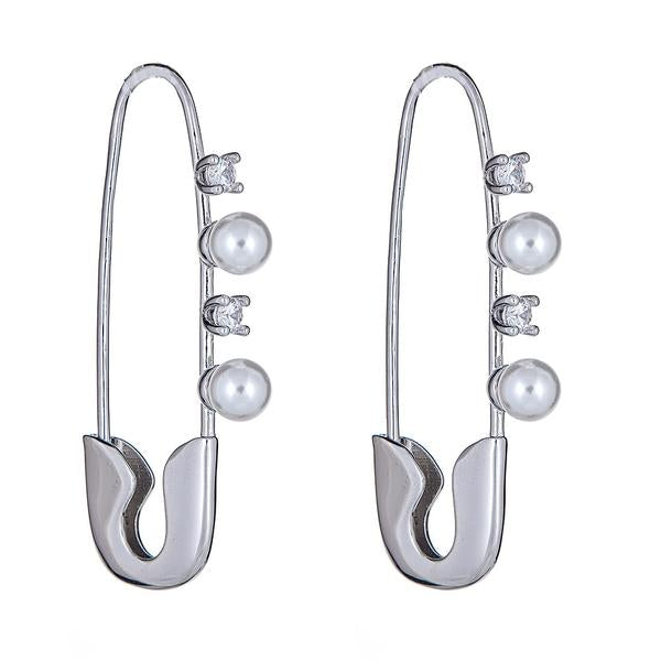 Silver Safety Pin Earring by Cristina Sabatini