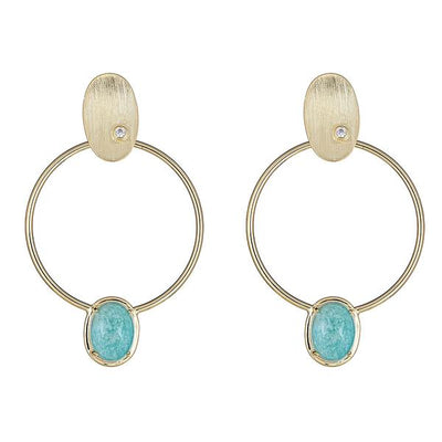 Cristina Sabatini 18K Gold Hoop Earring - Locus Earring with Amazonite