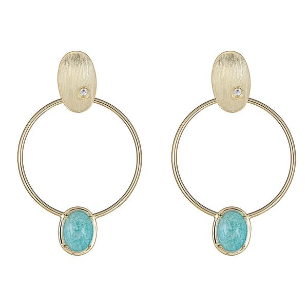 Cristina Sabatini 18K Gold Hoop Earring - Locus Earring with White Quartz