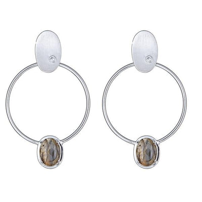Cristina Sabatini Silver Hoop Earring - Locus Earring with Labradorite
