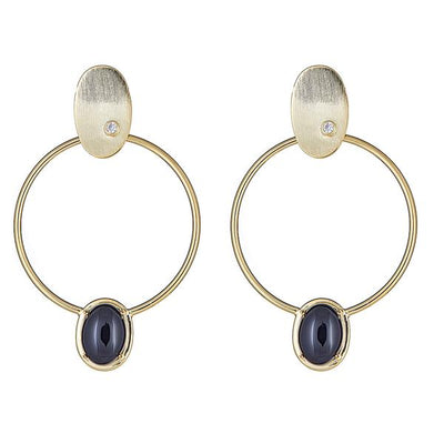 Cristina Sabatini 18K Gold Hoop Earring - Locus Earring with Onyx