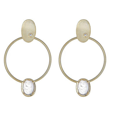 Cristina Sabatini 18K Gold Hoop Earring - Locus Earring with Clear Quartz