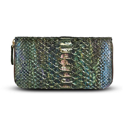 Camilla Wallet - Iridescent Green Hue Python Snakeskin Leather