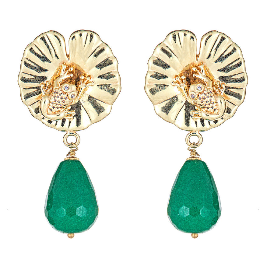 Lily Pad Stone Drop Earring