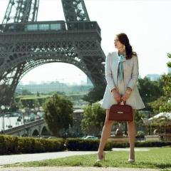 Model Wearing Accessories - Women's Handbags - Angelina Satchel in Cranberry - Saffiano Leather Handbag by Cristina Sabatini