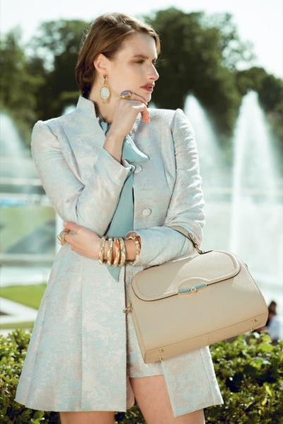 Model Wearing Angelina Satchel in Khaki - Saffiano Leather Handbag