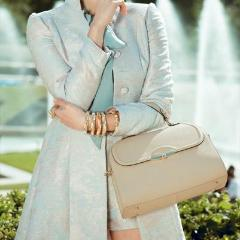 Model Wearing Angelina Satchel in Khaki - Saffiano Leather Handbag by Cristina Sabatini