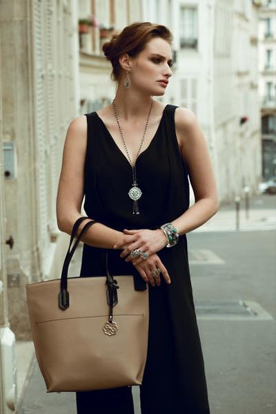 Model Wearing Mallory Tote - Fuchsia Handbag by Cristina Sabatini