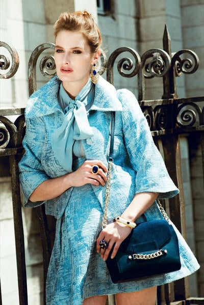 Woman Wearing Large Scarlett Crossbody -  Military Blue Saffino Leather Handbag by Cristina Sabatini