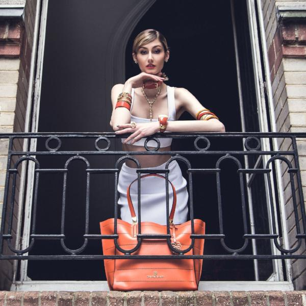 Priscilla Tote - Tiger Orange Leather Handbag by Cristina Sabatini