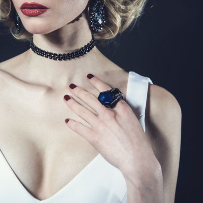 Close Up Of Model Wearing Women's Ring - Jewelry  in Black Rhodium Plated Black Giza Ring by Cristina Sabatini
