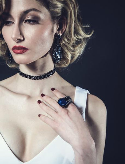 Model Wearing Women's Ring - Jewelry  in Black Rhodium Plated Black Giza Ring by Cristina Sabatini