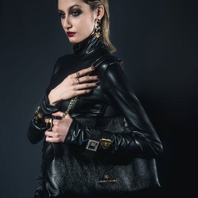 Model Wearing Lindsay Tote - Black Pebble Leather Handbag by Cristina Sabatini