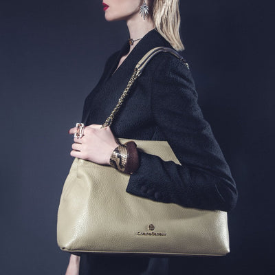 Model Wearing Lindsay Tote - Oat Pebble Leather Handbag by Cristina Sabatini