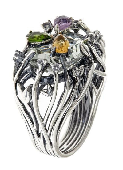 Jewelry Women's Rings - Green Amethyst Iris Blossom Ring in Black Rhodium by Cristina Sabatini