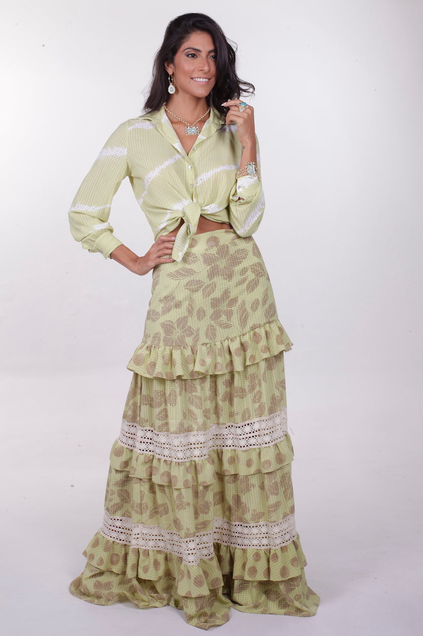Leah Button Blouse & Skirt Set - Lime