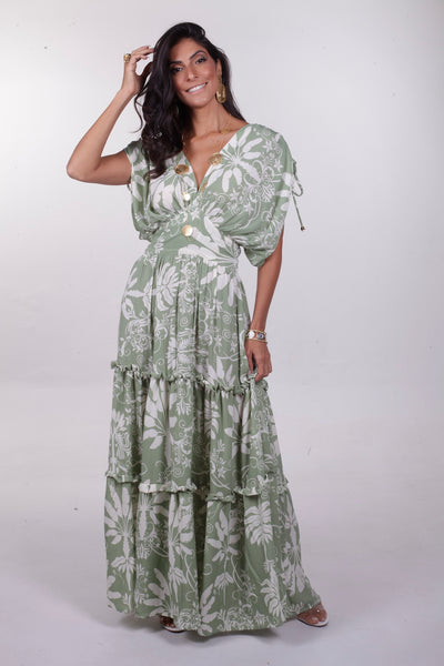 Ana Cinched Maxi Dress - Lime Floral