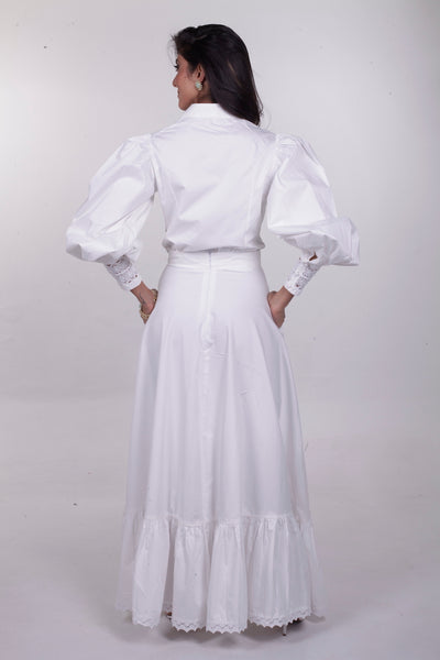 Chiara Puff Sleeve Blouse & Skirt Set  - White