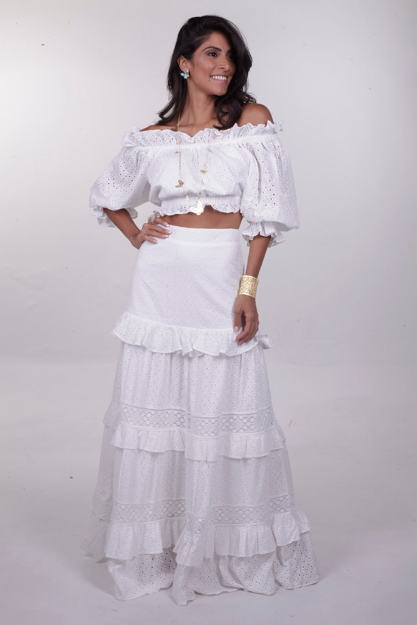 Louise 2 pc. Off Shoulder Crop & Skirt Set - Ivory