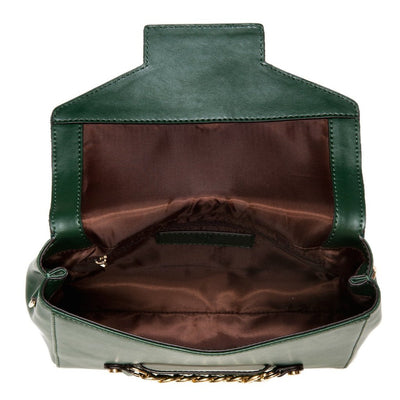Large. Scarlett Crossbody - Mallard Green Saffiano Leather by Cristina Sabtini Inside Wallet view
