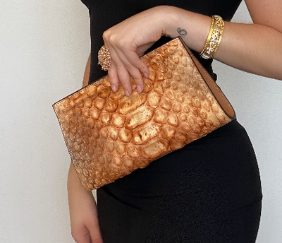 Emilia Clutch Orange/Beige