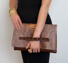 Carlotta Clutch Chestnut/Gold