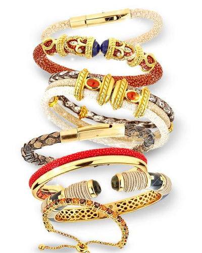 Collection of Rope Scroll Bangle Bracelets - 18K Gold Plated