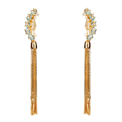 Lianas Earrings - Blue Topaz - Gold Plated