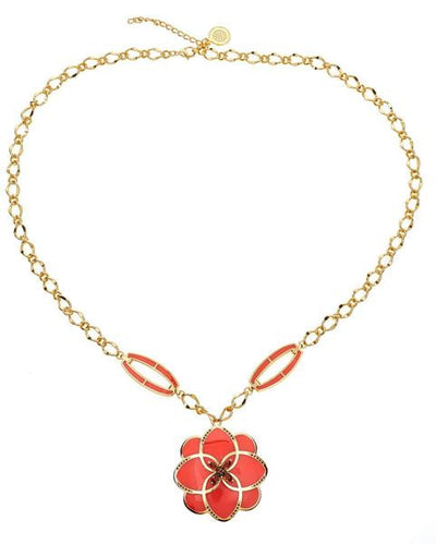 CS Peonia Necklace - Dark Coral