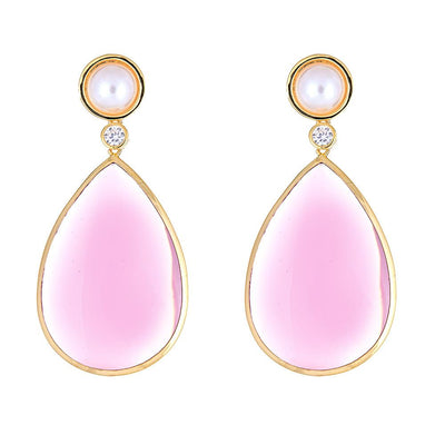 Pearl Drop Earrings - 18K Gold Plated
