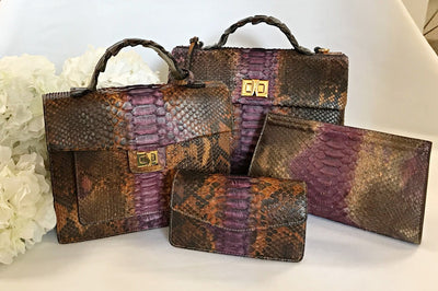 Stella Satchel Purple Brown Python Leather Handbag
