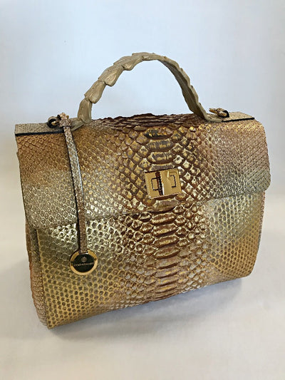 Stella Satchel Gold Python Leather Handbag