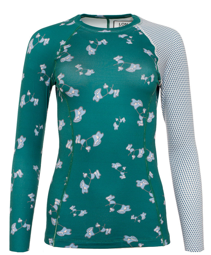 Women's Thermal Shirt - Crew Neck - Flower Jade Bluebs Blue (1W101155)