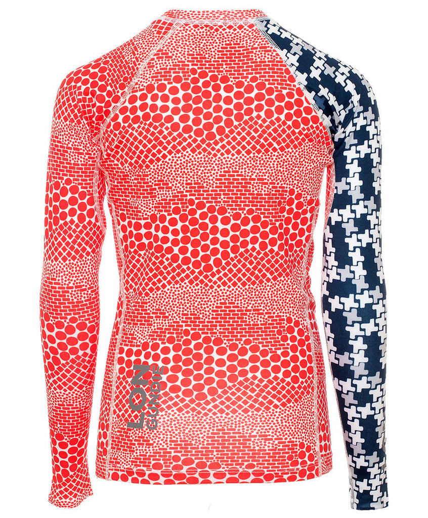 Jr's Crew Neck Rash Guard - Dune Red Indie Navy