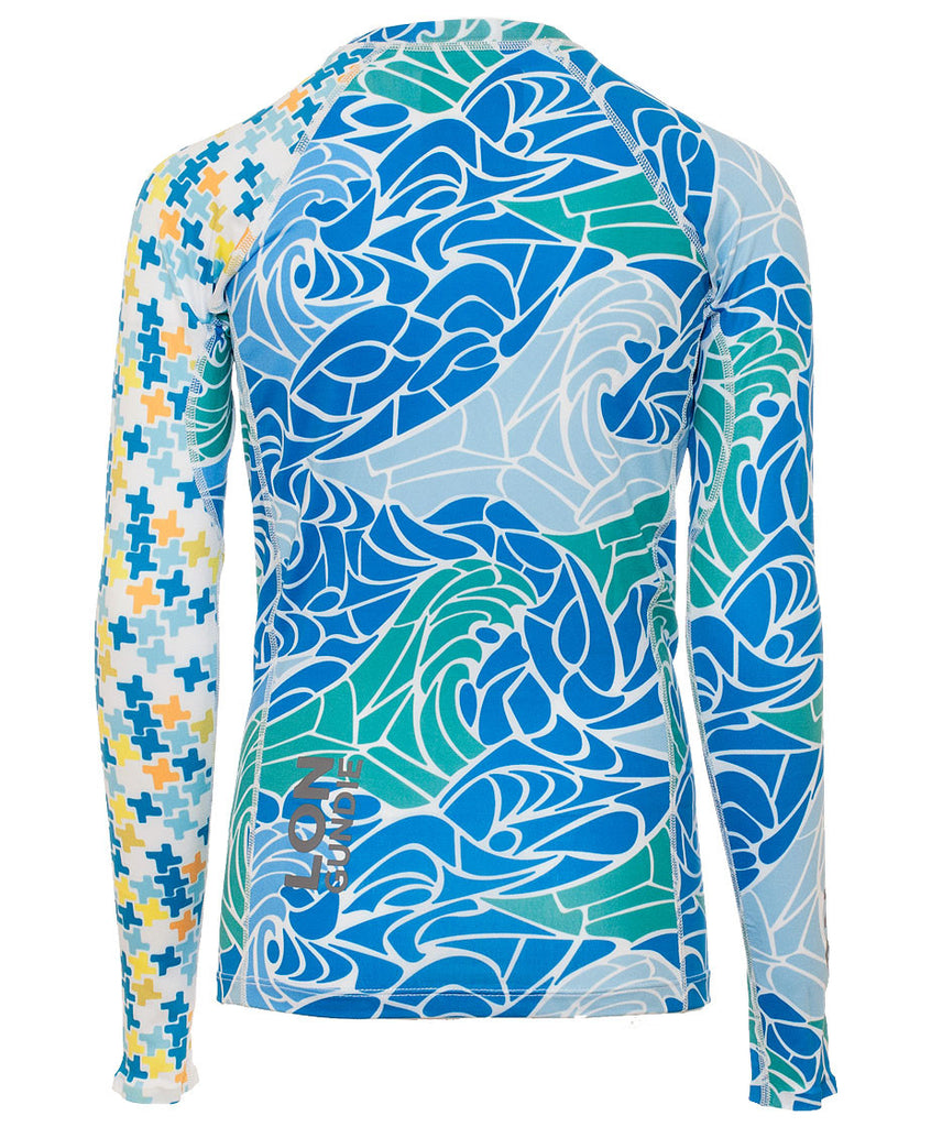 Jr's Crew Neck Rash Guard - MdP Blue Indie Melon