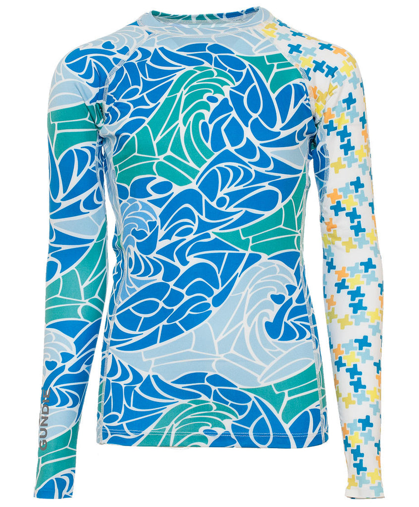 Jr's Crew Neck Rash Guard - MdP Blue Indie Melon (2J101129)