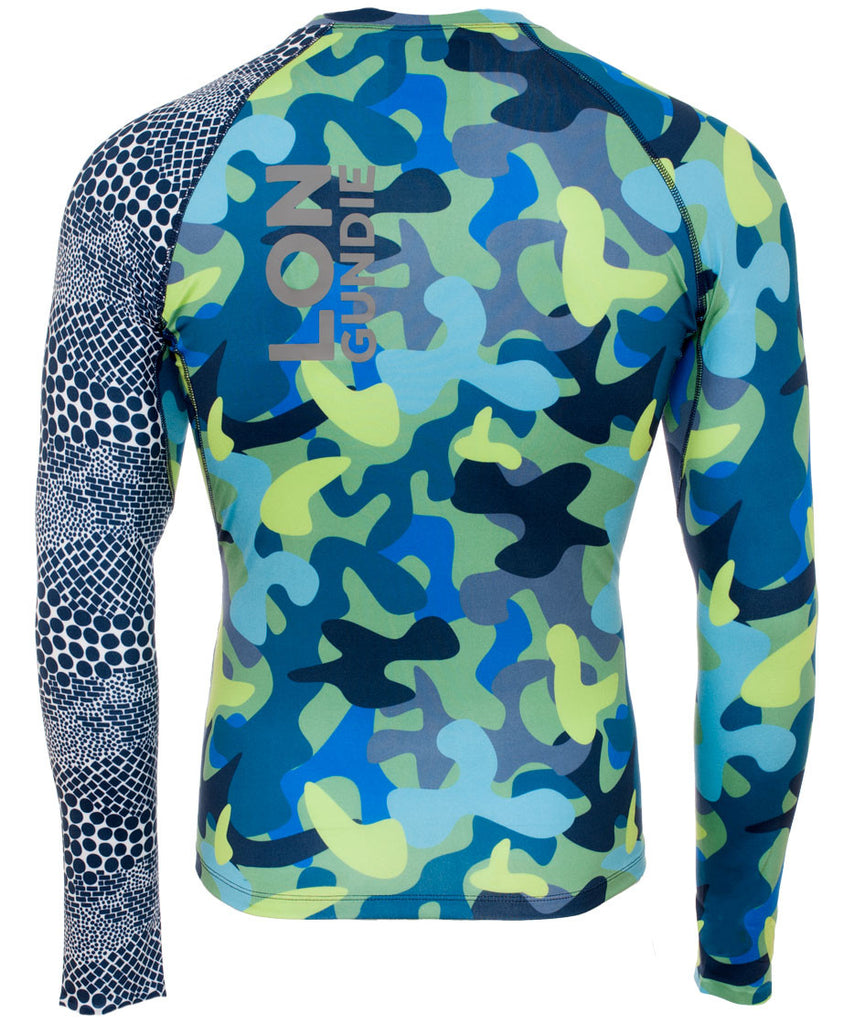 M's Crew Neck Rash Guard - Camo Moss Dune Navy