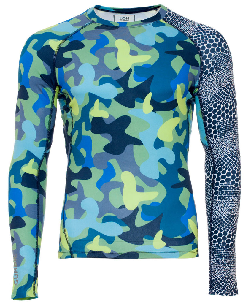 Men's Crew Neck Rash Guard - Camo Moss Dune Navy (2M101121)