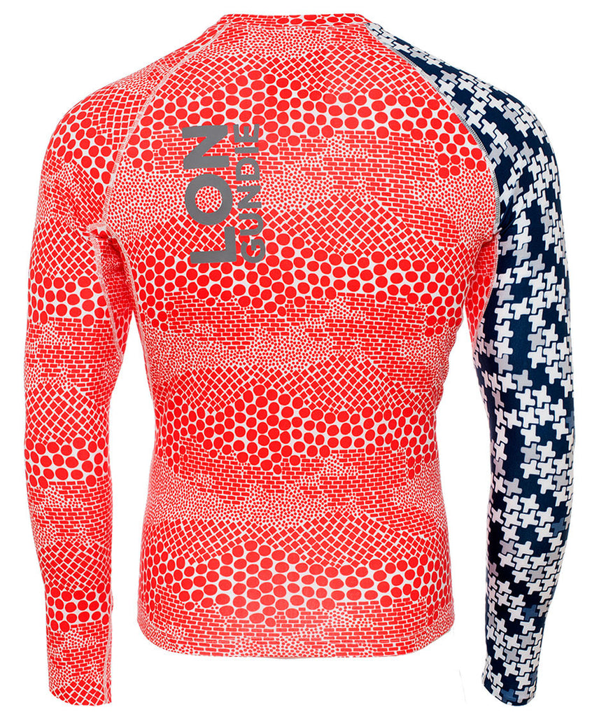 M's Crew Neck Rash Guard - Dune Red Indie Navy