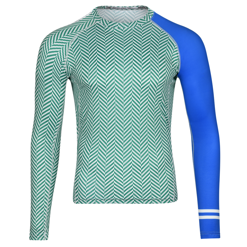 MEN RASH GUARD TOP LONG SLEEVE GREEN | LON GUNDIE