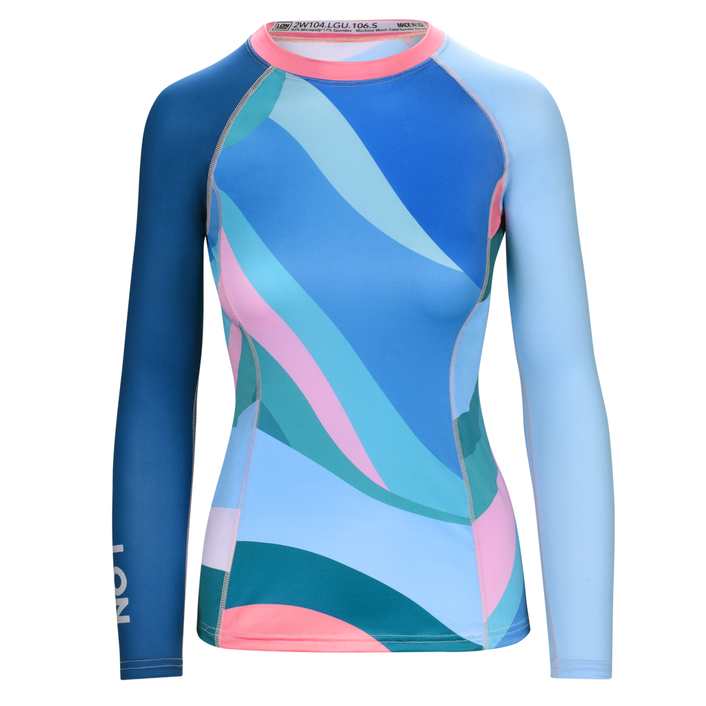 WOMEN RASH GUARD TOP LONG SLEEVE BLUE | LON GUNDIE