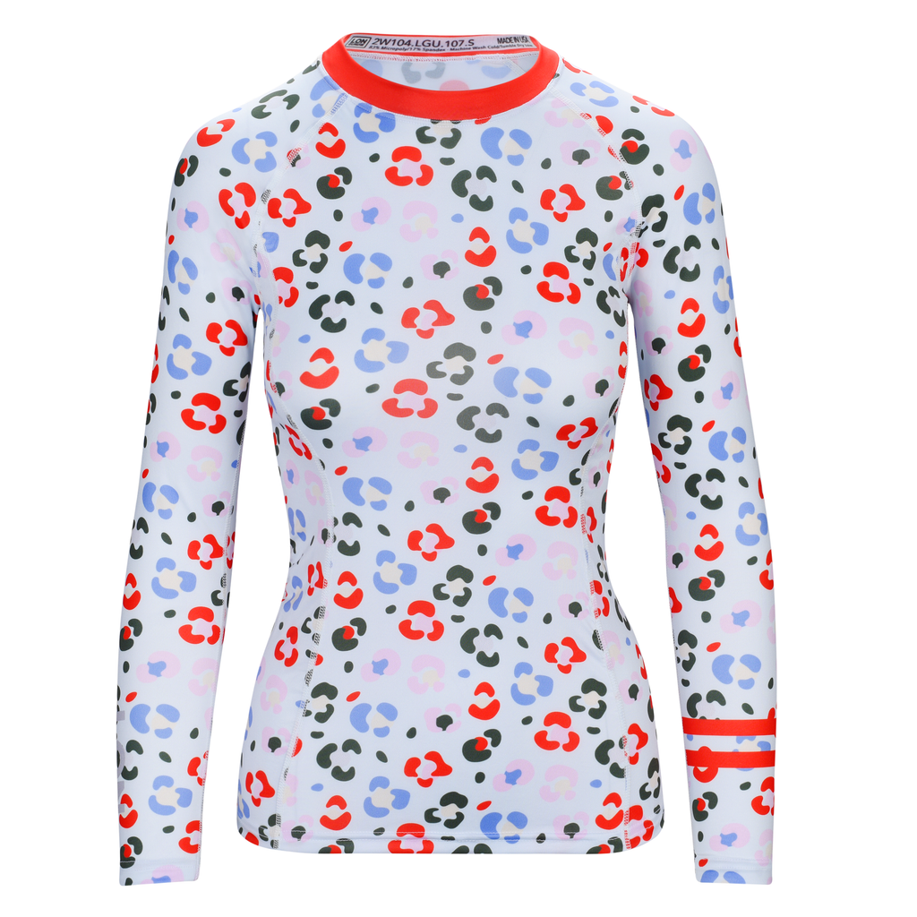 WOMEN RASH GUARD TOP LONG SLEEVE RED | LON GUNDIE