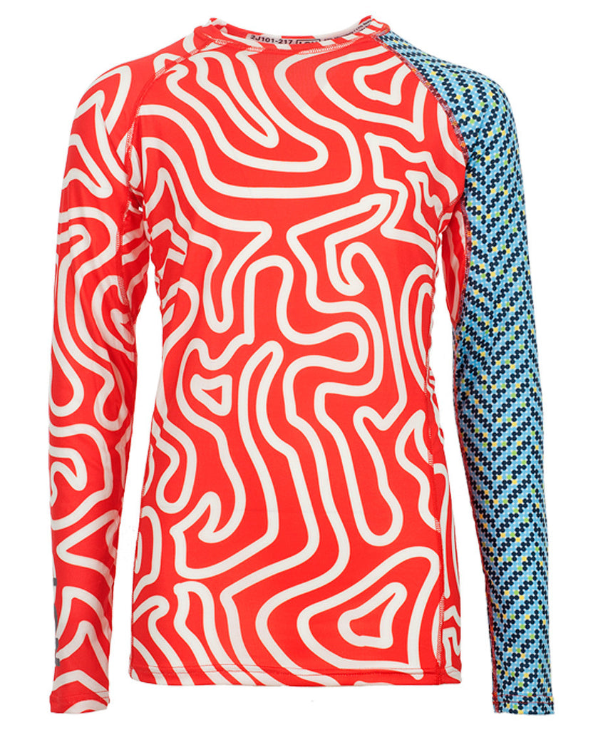 Jr's Crew Rash Guard - Zebra Red Hbone2 Blue
