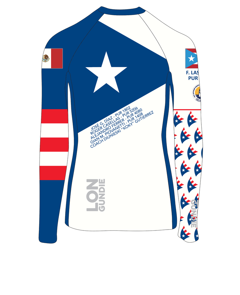 MEN RASH GUARD TOP FITTED WHITE | PUERTO RICO NORTH AMERICANS 2021