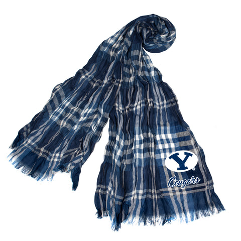 BYU Cougars Crinkle Scarf Plaid - Navy/Gray