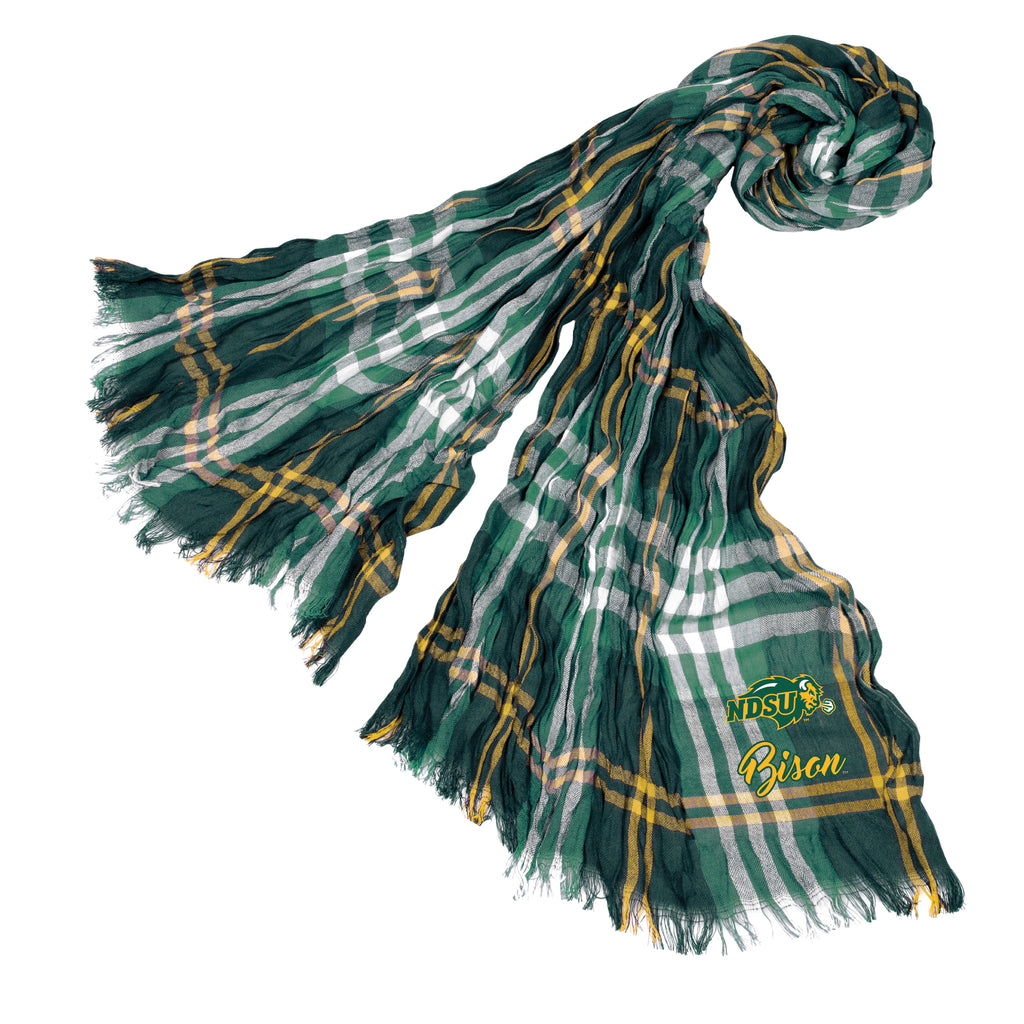 North Dakota State Bison Crinkle Scarf Plaid - GRMGL