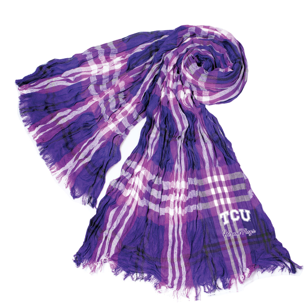 TCU Horned Frogs Crinkle Scarf Plaid - PRBLK