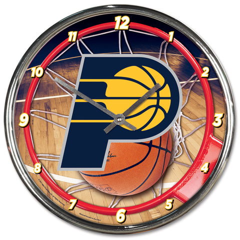 Indiana Pacers Clock Round Wall Style Chrome