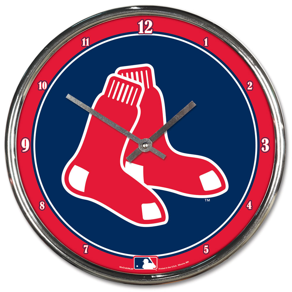 Boston Red Sox Round Chrome Wall Clock